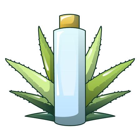Aloe vera plastic bottle icon. Cartoon of aloe vera plastic bottle vector icon for web design isolated on white background