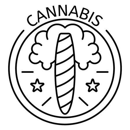 Cannabis cigar  outline style Illustration