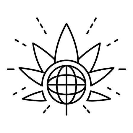 Global marijuana leaf  outline style Illustration