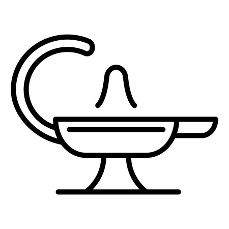 Magic lamp icon. Outline magic lamp vector icon for web design isolated on white background