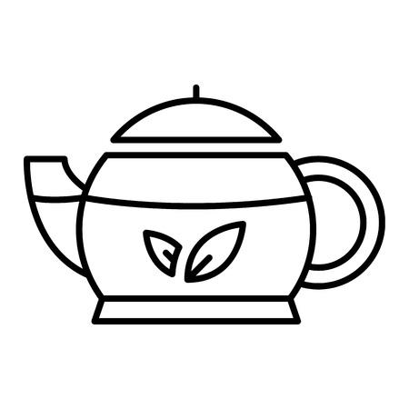 Icona della teiera orientale. Delineare la teiera orientale icona vettoriali per il web design isolato su sfondo bianco