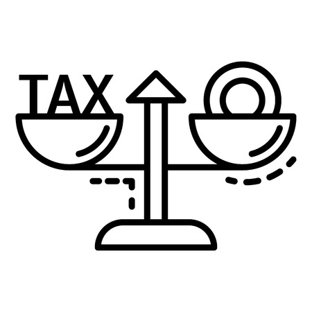 Tax money balance icon. Outline tax money balance vector icon for web design isolated on white background
