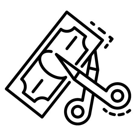 Schere schneiden Geldsymbol. Umrissschere schneidet Geldvektorsymbol für Webdesign isoliert auf weißem Hintergrund Vektorgrafik