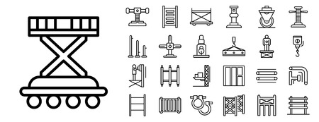 Scaffolding icon set. Outline set of scaffolding vector icons for web design isolated on white background