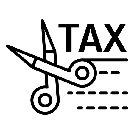 Tax scissors icon. Outline tax scissors vector icon for web design isolated on white background