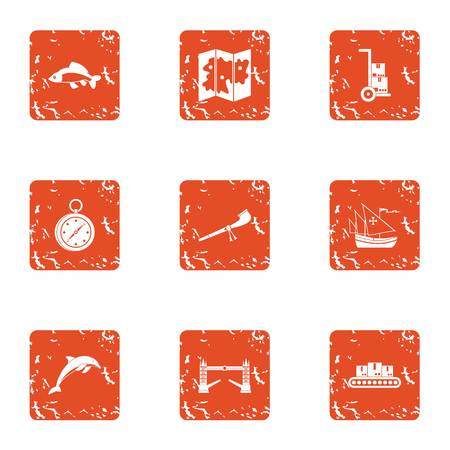 Difficult terrain icons set. Grunge set of 9 difficult terrain vector icons for web isolated on white background