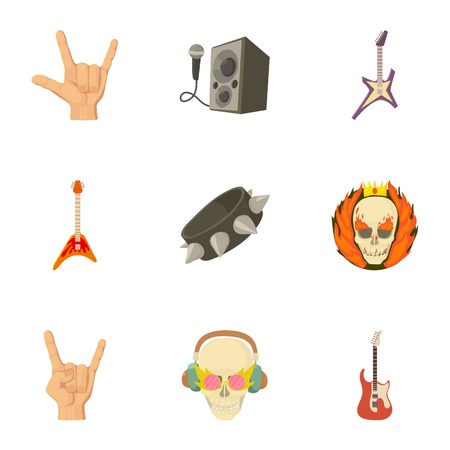 Rock playground icons set. Cartoon set of 9 rock playground vector icons for web isolated on white background