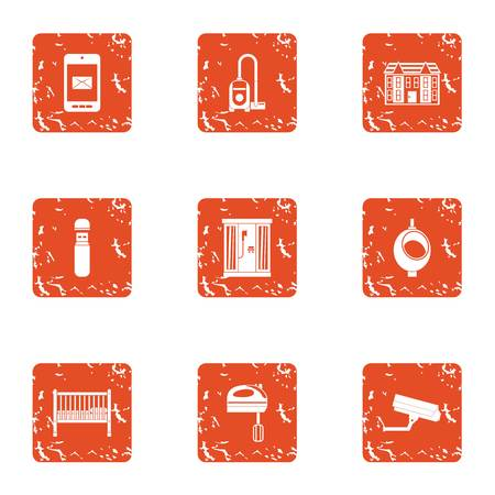 Town house icons set. Grunge set of 9 town house vector icons for web isolated on white background