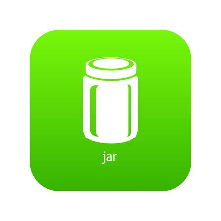 Jar icon green vector isolated on white background Illustration