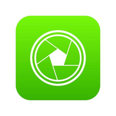 Photo objective icon digital green for any design isolated on white vector illustration
