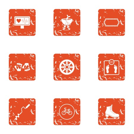 Mass of body icons set. Grunge set of 9 mass of body vector icons for web isolated on white background