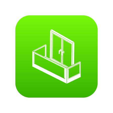 Glass balcony icon green vector isolated on white background
