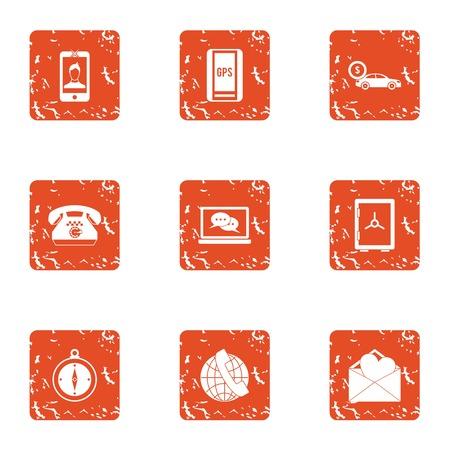 Gps phone icons set. Grunge set of 9 gps phone vector icons for web isolated on white background Illusztráció