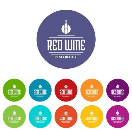 Red wine icons set vector color