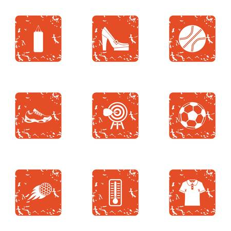 Sport on the grass icons set. Grunge set of 9 sport on the grass vector icons for web isolated on white background Illusztráció