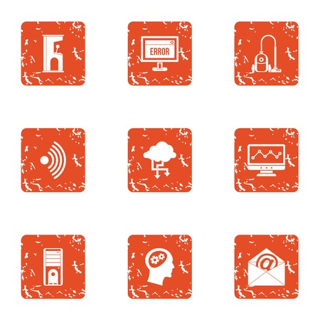 Remote mailroom icons set. Grunge set of 9 remote mailroom vector icons for web isolated on white background