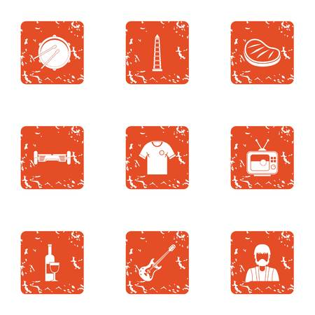 Festively icons set. Grunge set of 9 festively vector icons for web isolated on white background Illustration