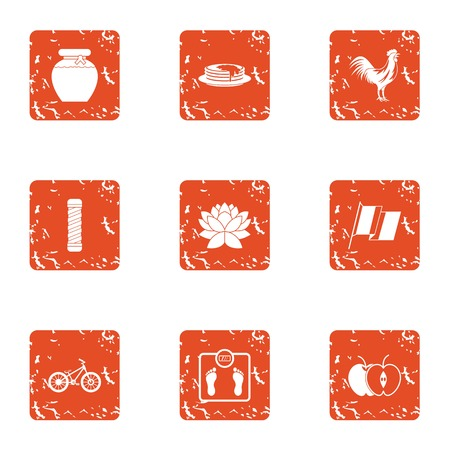 Health monitoring icons set. Grunge set of 9 health monitoring vector icons for web isolated on white background