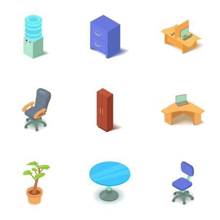 Office chair icons set. Isometric set of 9 office chair vector icons for web isolated on white background