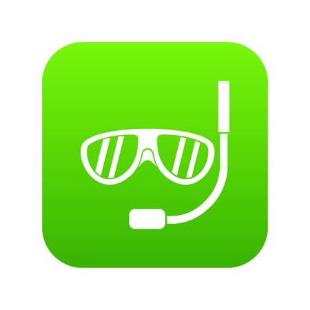 Swimming mask icon digital green