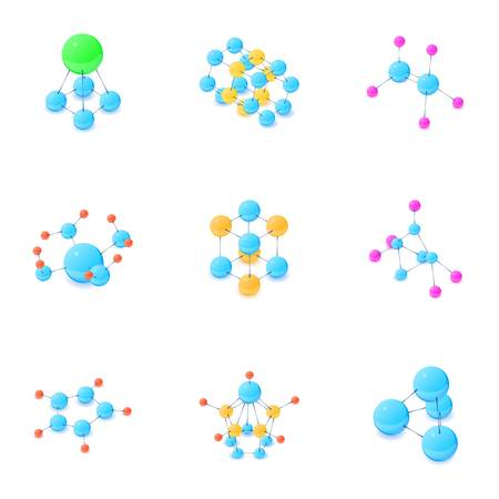 Atomic structure icons set. Isometric set of 9 atomic structure vector icons for web isolated on white background