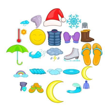 Herfst weer pictogrammen instellen. Cartoon set van 25 herfstweer vector iconen voor web geïsoleerd op een witte achtergrond