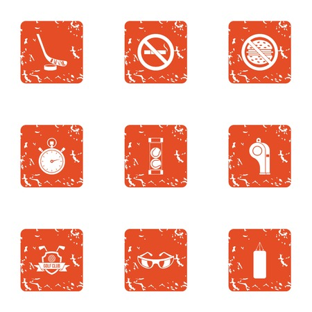 Right living icons set. Grunge set of 9 right living vector icons for web isolated on white background 일러스트