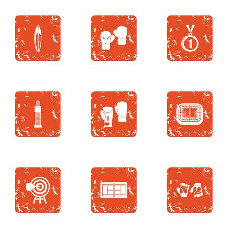 Sport facility icons set. Grunge set of 9 sport facility vector icons for web isolated on white background 일러스트