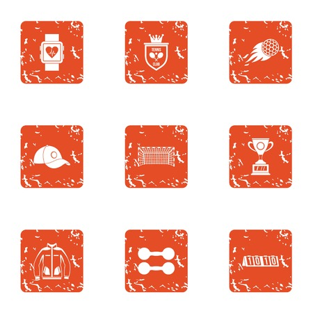 Space sport icons set. Grunge set of 9 space sport vector icons for web isolated on white background