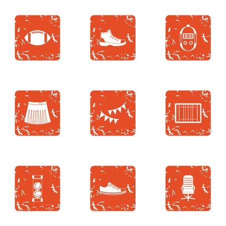 Correct life icons set. Grunge set of 9 correct life vector icons for web isolated on white background