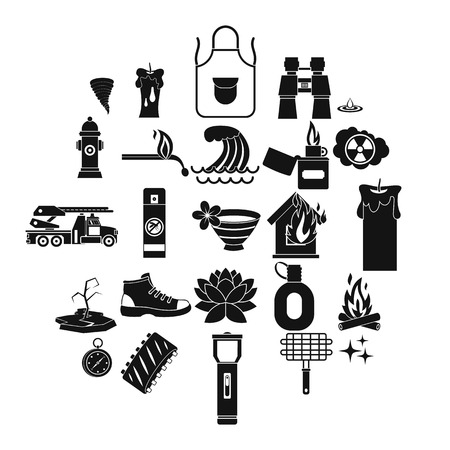 Disaster icons set. Simple set of 25 disaster vector icons for web isolated on white background