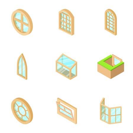 Window opening icons set, isometric style