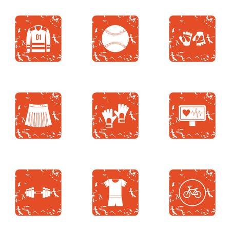 Monitoring sport icons set. Grunge set of 9 monitoring sport vector icons for web isolated on white background