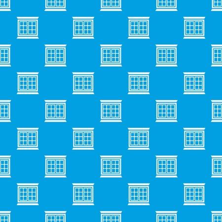 Modern window frame pattern vector seamless blue Illustration