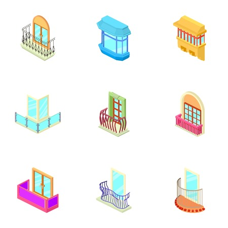 Window hole icons set, isometric style