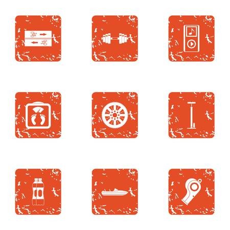 Practice session icons set. Grunge set of 9 practice session vector icons for web isolated on white background