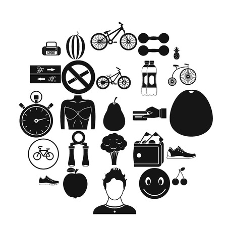 Bicycle tour icons set. Simple set of 25 bicycle tour vector icons for web isolated on white background 일러스트