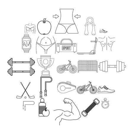 Do sport icons set. Outline set of 25 do sport vector icons for web isolated on white background