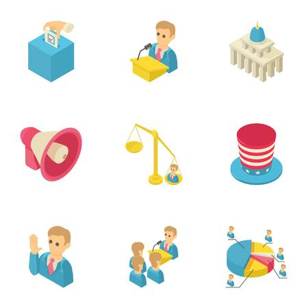 Debate icons set. Isometric set of 9 debate vector icons for web isolated on white background