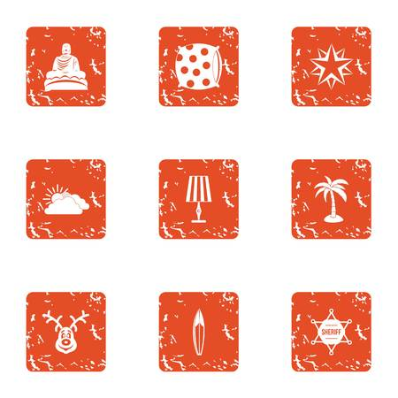 Sign religion icons set. Grunge set of 9 sign religion vector icons for web isolated on white background