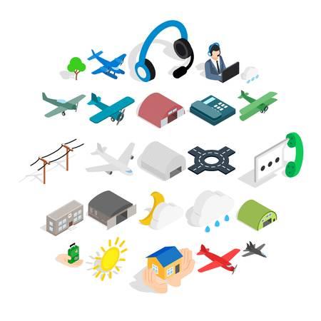 Landing icons set. Isometric set of 25 landing vector icons for web isolated on white background