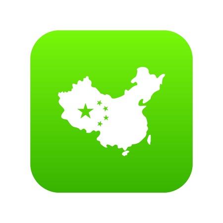Map of China icon digital green