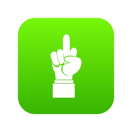 Middle finger hand sign icon digital green Imagens