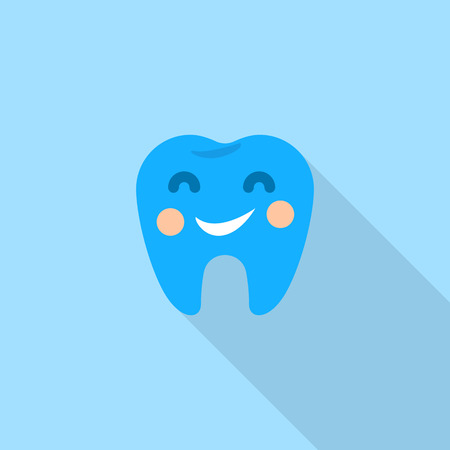 Smiley tooth logo icon. Flat illustration of smiley tooth logo icon for web design