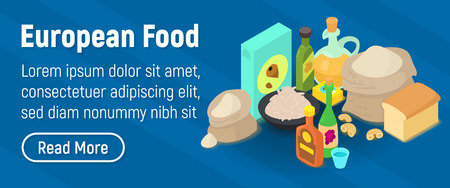 European food concept banner. Isometric banner of european food vector concept for web, giftcard and postcard