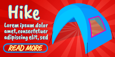 Hike concept banner. Isometric banner of hike comics vector concept for web, giftcard and postcard