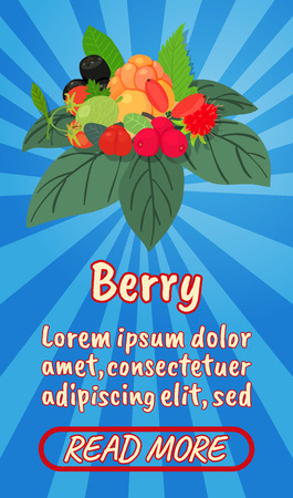 Berry concept banner. Isometric banner of berry comics vector concept for web, giftcard and postcard Ilustracja