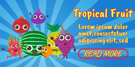 Tropical fruit concept banner. Isometric banner of tropical fruit comics vector concept for web, giftcard and postcard
