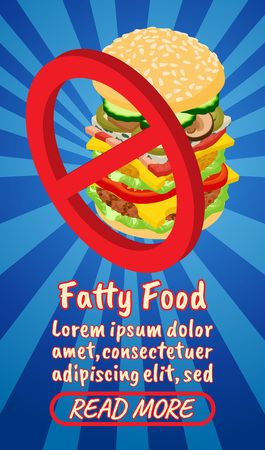 Fatty food concept banner. Isometric banner of fatty food comics vector concept for web, giftcard and postcard