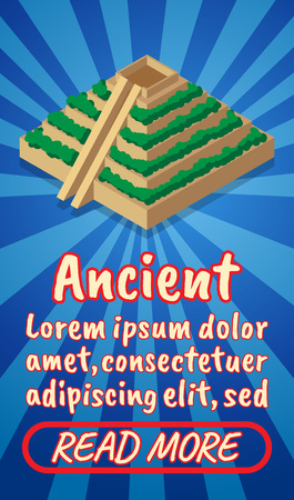 Ancient concept banner. Isometric banner of ancient comics vector concept for web, giftcard and postcard